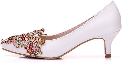 RHYFBK Zápatos de Tacon mujer zapatos de Boda blancos zapatos de tacón Medio de mujer zapatos Puntiagudos Solos zapatos de tacón Alto de Strass zapatos de Fiesta zapatos de tacón mujer (Talla   36)