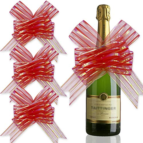Acehome 20 Pack Large Pull Bows for Gift Wrapping, 6.7' Organza Present Basket Wrapping Bow Tie 30' Long Ribbon for Birthday Christmas Wedding Thanksgiving Parties, Red