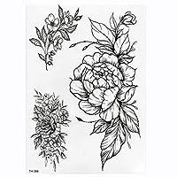 MIYU ローズ牡丹の花の女の子の一時的な入れ墨のために女性の防水黒のタトゥーステッカー3DブロッサムレディーショルダーManual (Color : TH386)