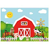 Allenjoy 8x6ft Soft Fabric Cartoon Farm Animals Photography Backdrop Red Barn Barnyard Baby Shower Boys Birthday Party Decoration Banner Little Farmer Photo Background