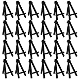 U.S. Art Supply 5' Mini Black Wood Display Easel (Pack of 24), A-Frame Artist Painting Party Tripod Easel - Tabletop Holder Stand for Small Canvases, Kids Crafts, Business Cards, Signs, Photos, Gifts