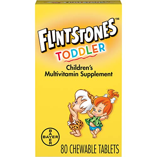 Flintstones Chewable Toddler Vitamins, Multivitamin for Toddlers with Vitamin C, Vitamin D, Folate & more, 80ct