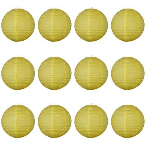 30,5 x 30,5 cm Jaune Lanterne en Papier ronde avec nervures en fil – Value Pack