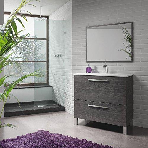 Abitti Mueble Lavabo de baño o Aseo con lavamanos cerámico y Espejo con Marco a Juego, Incluido. Puerta abatible y Cierre amortiguado Color Gris Ceniza 80x80x45cm
