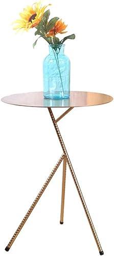 Descuento del 70% barato Mesita Pequeña- Pequeña mesa mesa mesa de centro simple del hierro labrado, mesa rojoonda de la sala de estar del sofá de la mesa de la esquina del dormitorio mini mesa rojoonda ( Color   oro , Talla   42x58cm )  Precio por piso