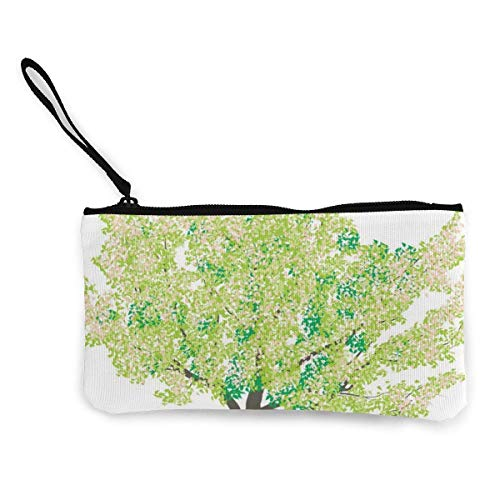 Yuanmeiju Cherry Tree in Spring Women and Girls Cute Fashion Canvas Coin Purse Change Coin Bag Zipper Small Purse Wallets for Keychain Money Travel Pouches