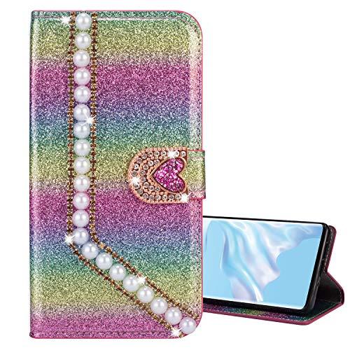 Nadoli Galaxy Note 20 Ultra Leder Hülle,Bling Glitzer Diamant 3D Handyhülle im Brieftasche-Stil Perle Herz Flip Schutzhülle Etui für Samsung Galaxy Note 20 Ultra,Rosa#