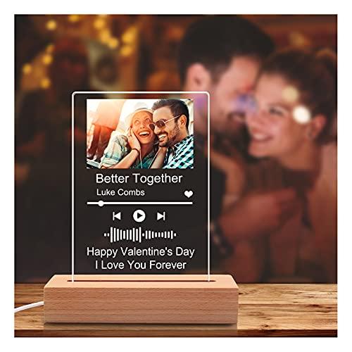 Personalizzata Spotify Glass Art Luce Notturna Personalizzata con Codice Spotify Scansionabile, Copertina per Album in Acrilico Personalizzato