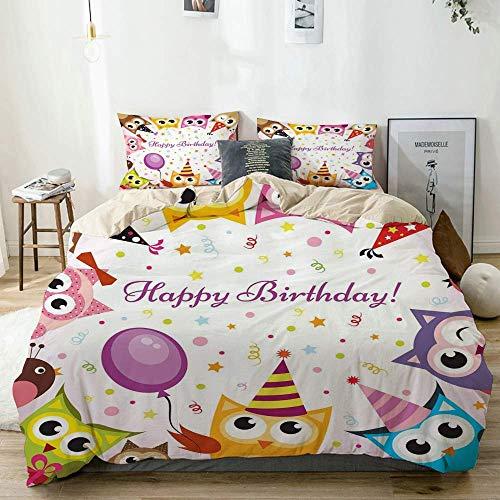Juego de funda nórdica beige, familia de búhos de fiesta de cumpleaños con sombreros de cono de colores sobre fondo de confeti, juego de cama decorativo de 3 piezas con 2 fundas de almohada, fácil cui