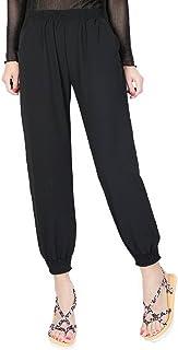YiyiLai Women Solid Ankle High Waist Loose Elastic Leisure Harem Pants
