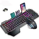 RYEWARY Wireless Charging Gaming Keyboard and Mouse Combo with Rainbow LED Backlit Ergonomic Waterproof Dustproof Keypad +Mouse+Mousepad for PS4 (Black/Mix LED Backlit)