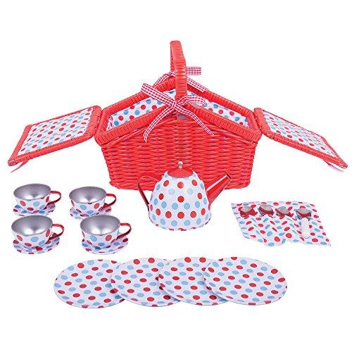 Bigjigs Toys Gepunktetes Teeservice Set + Picknickkorb