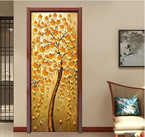ZDDBD Etiqueta engomada de la Puerta del Arte árbol de la Flor Dorada PVC Autoadhesivo Decorativo Impermeable Etiqueta de la Pared Mural Puerta Papel Tapiz Sala de Estar