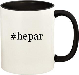#hepar - 11oz Hashtag Ceramic Colored Handle and Inside Coffee Mug Cup, Black