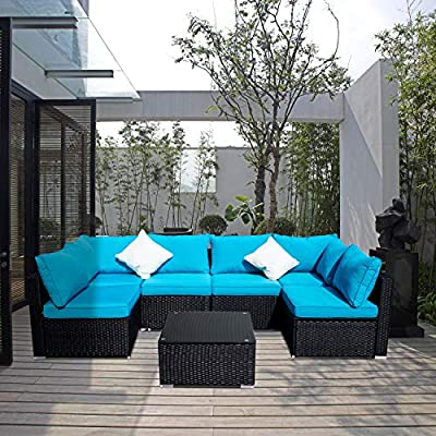 GDY Outdoor Patio Furniture Sets 2/3/5/7/12 Pieces PE Rattan Wicker Sectional Sofa Sets with Pillows & Cushions (7 Pieces, Blue)