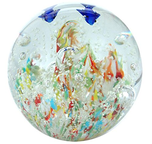 Traumkugel Delphine bunter Grund (199), Nachtleuchtend, Glaskugel, Briefbeschwerer, Wunschkugel ca. 9,0-10,0 cm