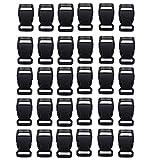 HONGCI 30PCS 20mm Negro Contorneado plástico Lateral Mini Hebillas para Paracord Pulseras, Collar de Perro, Correa, Bushcraft, Accesorios de la Mochila, Tienda de campaña