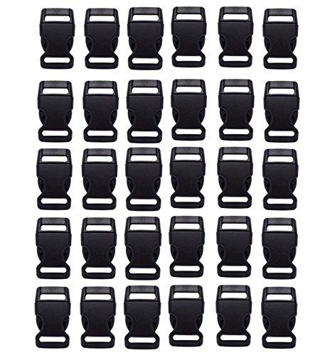 HONGCI 30 PCS 20mm Noir Contoured Côté en Plastique Mini Boucles pour Paracord Bracelets, Collier de Chien, Sangle, Bushcraft, Accessoires De Sac À Dos, Tente