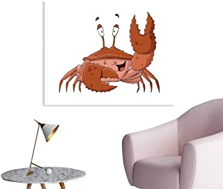 J Chief Sky Crabs Mural Decoration Friendly Chela Arthropod Waving His Nipper Greeting with a Big Smile Funny Creature Wall Art Stickers W28 xL20