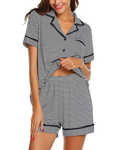 Ekouaer Womens Pajamas Short Sleeve Sleepwear Soft PJ Set with Shorts (Navy Blue Striped L)