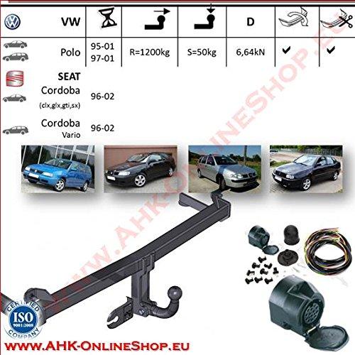 ATTELAGE avec faisceau 13 broches | Volkswagen Polo Classic / Seat Cordoba / Seat Cordoba Vario de 1995 à 2009 / crochet «col de cygne» démontable avec outils
