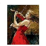 OKOUNOKO Pintura Por Conjunto Digital, Mujer De Rojo Tocando El Violín, Lienzo De Pintura Para Niños, Decoración Del Hogar, Sin Marco 40X50Cm