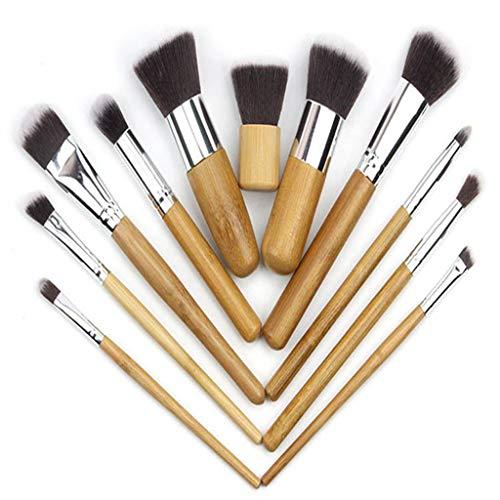 DMXY 11pcs manche en bambou brosses cosmétiques mis en dessin corde sac lin linge sac en bambou ,A