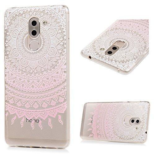 3 x Huawei Honor 6X Hülle TPU Soft Tasche Weiche CASE KASOS Handyhülle Schutzhülle Schale Cover Silicone Taschen IMD Technologie, Rosa Gradient Totem + Lila Löwenzahn + Blau Traumfänger - 2