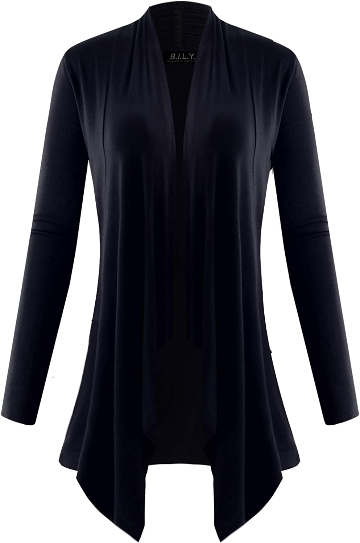 BILY Women's Long Sleeve Draped Open Cardigan with Pockets Navy Large