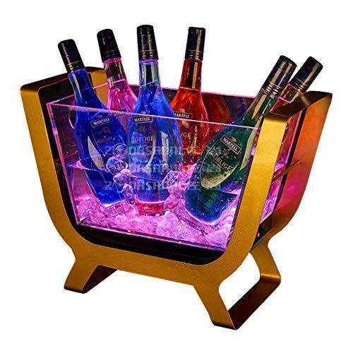 YFGQBCP LED cubo de hielo cambiante del color del LED Capa Enfriador Cubo cuadrado cerveza de la barra de hielo cubo de champagne vino bebidas Compartimiento de la cerveza for la boda de KTV barra del