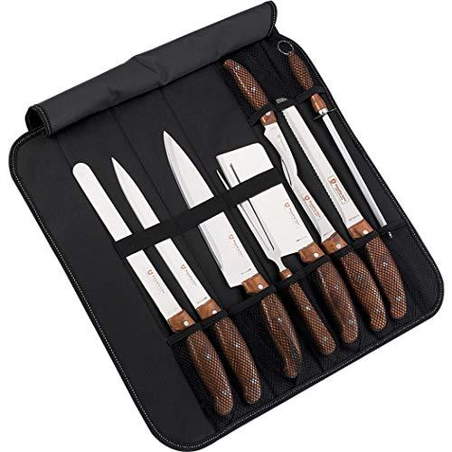 Royalty Line Cuchillos de Cocina Acero Inoxidable,Juego de Cuchillos Calidad Profesional,Bolsa maletin 9 Piezas, Delantal con Bolsillo Frontal y Manta Transportadora
