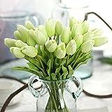 MDD_Tech 10 flores artificiales de tulipán con hojas para decoración de ramo de boda, color verde