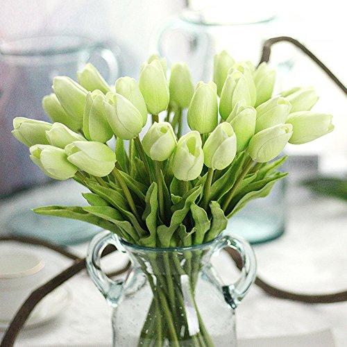 MDD_Tech 10Stück Schöne, künstlichen Tulpen-Blumen, mit Blättern für Hochzeits-Blumenstrauß Dekoration grün