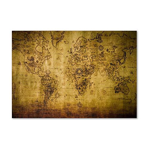 Tulup Acrylglas - Wandkunst - Bild auf Plexiglas Deko Wandbild hinter Kunststoff/Acrylglas Bild - Dekorative Wand für Küche & Wohnzimmer 100 x70 cm - Landkarten & Flaggen - Alte Weltkarte - Beige
