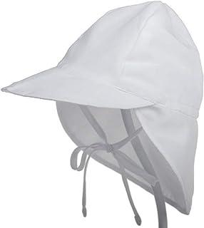 子供用 日除け帽子 ハット つば広 あご紐付 UVカット サンバイザー 可愛い サンハット キャップ 日焼け対策 紫外線カット 男の子 女の子 (小(44~48cm), ホワイト)