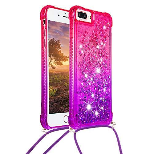 Glitter Funda para iPhone 7 Plus/iPhone 8 Plus / 6S Plus / 6 Plus Purpurina Silicona con Correa para Hombro y Cordón 3D Liquido Brillante Dibujos Transparente Carcasa Case Antigolpes - Rosa Púrpura