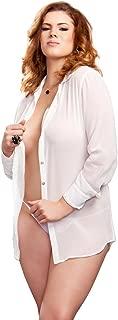 iCollection Women's Plus-Size Chiffon Button Down Sleep Shirt