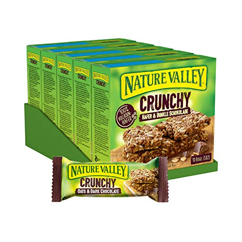Nature Valley Crunchy Hafer und Dunkle Schokolade, Müsliriegel, 5er Pack (5 x 210g Multipack mit je 10 Riegeln)