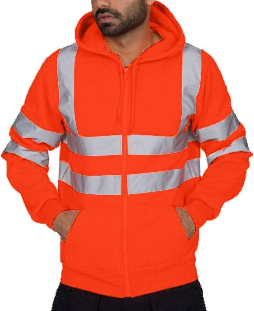 Asibeiul Men's High Visibility Sweatshirt Winter Bomber Jacket Hi-Vis Reflective Full Zip Hooded Pullover Road Work Blouse