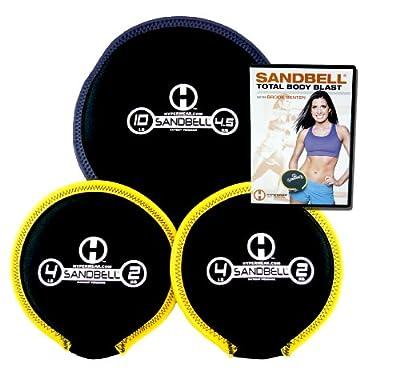 Hyperwear SandBell Total Body Blast Workout DVD with 3 SandBell Weights (18 lbs Capacity)