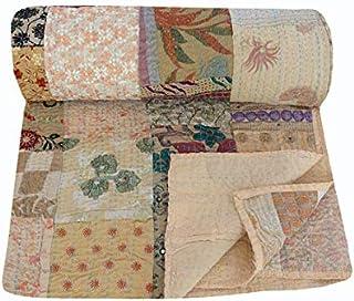 NANDNANDINI TEXTILE - Juego de colcha de algodón indio hecho a mano, estilo vintage, estilo kantha, estilo bohemio, para decoración del hogar, tamaño king