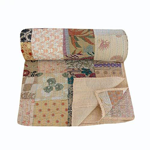 NANDNANDINI TEXTILE Juego de cama de algodón indio hecho a mano, estilo vintage, con patchwork, Kantha
