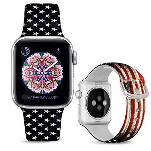 DOO UC Silicone Watch Bands Floral Compatible with Apple Watch 42mm/44mm, Stars and Red Stripes Flag Silicone Fadeless Pattern Printed Replacement Bands for iWatch Series 6 5 4 3 2 1 M/L for Women Men