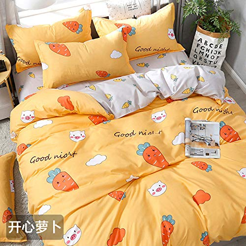 QWEASDZX Cotton Four-Piece Simple Soft And Comfortable Bare Sleep Bedding Super Soft Fabric Breathable 2.2m