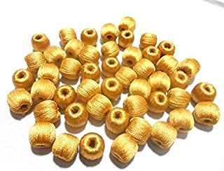GOELX Super Shiny Silk Thread Wrapped Wooden Beads For Jewelry Making- Pack Of 20 (Golden)