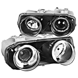 Spec-D Tuning Halo Jdm Black Projector Headlights Lamps for 1994-1997 Acura Integra Head Light Assembly Left + Right Pair