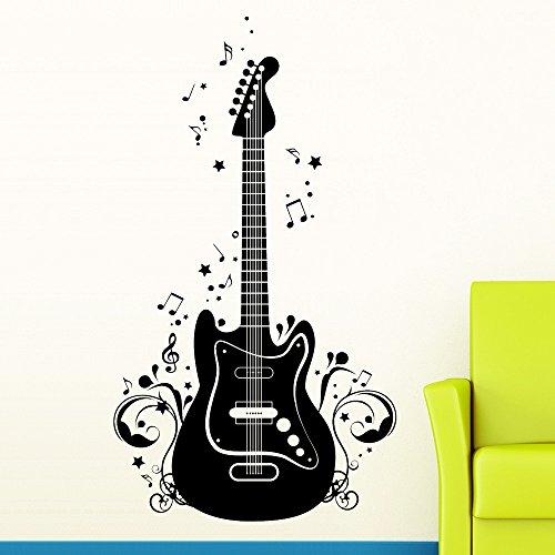 """Wandtattoo-Loft """"E-Gitarre, Noten und Ranke"""" - Wandtattoo / 49 Farben / 4 Größen/schwarz / 35 x 62 cm"""