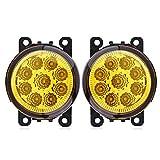 Fendinebbia per auto 9 LED Fendinebbia anteriore tondo per auto Fendinebbia per auto DRL Luce di marcia diurna(giallo)