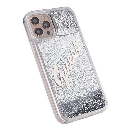 Guess GUHCP12LGLVSSI - Funda para iPhone 12 Pro MAX de 6,7 Pulgadas, Carcasa rígida líquida, diseño Vintage, Color Plateado