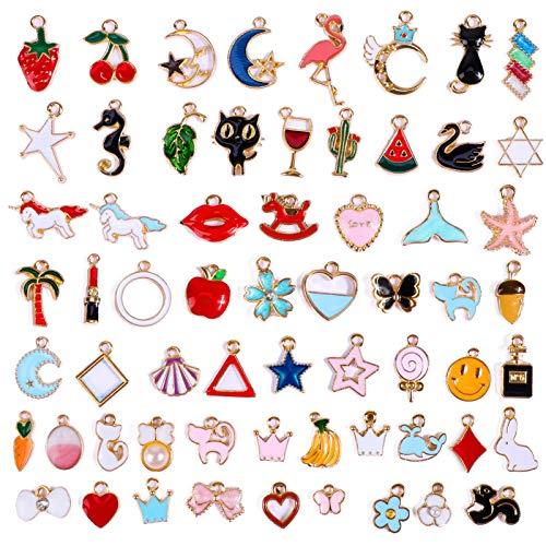 Qpout, 60 ciondoli assortiti placcati in oro, smaltati rossi, per creare gioielli, collane, bracciali, orecchini, accessori